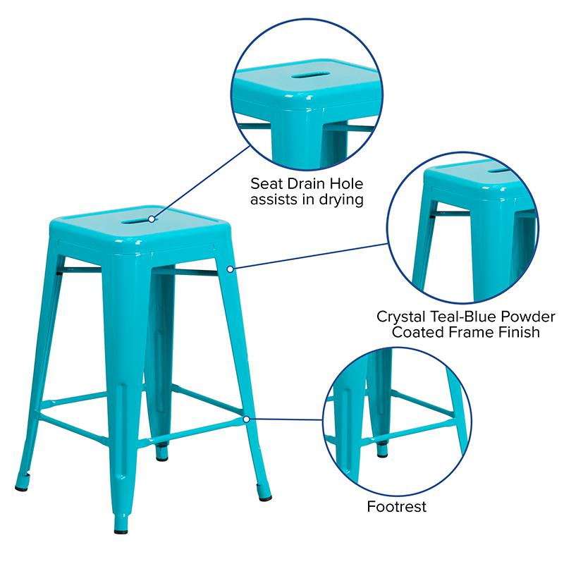 "Commercial Grade 24"" High Backless Crystal Teal-Blue Indoor-Outdoor Counter Height Stool [ET-BT3503-24-CB-GG]. Picture 3"