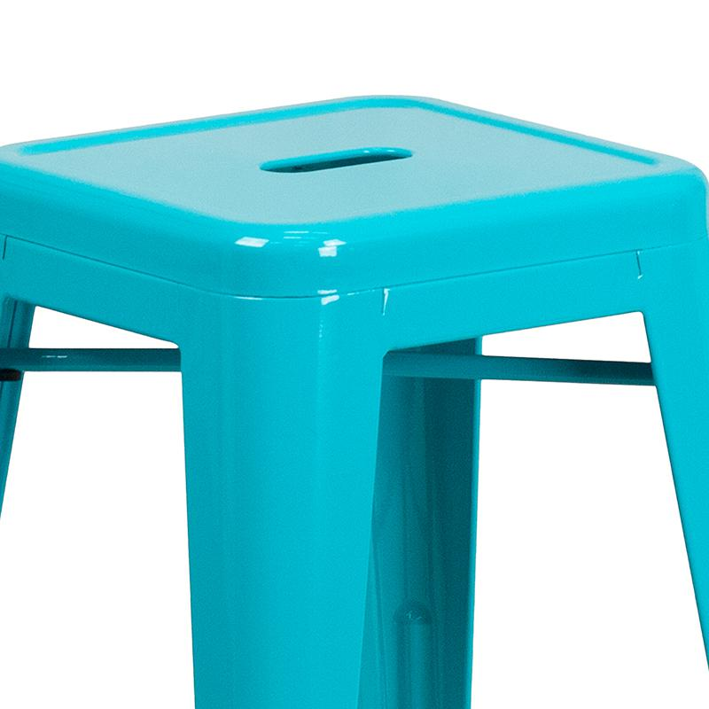 """Commercial Grade 24"""" High Backless Crystal Teal-Blue Indoor-Outdoor Counter Height Stool [ET-BT3503-24-CB-GG]. Picture 4"""
