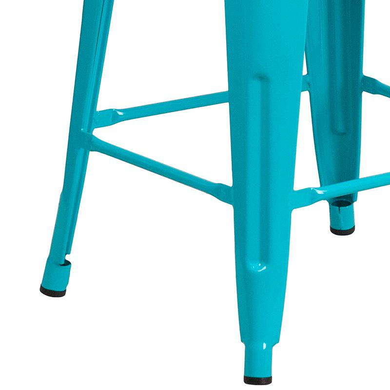 "Commercial Grade 24"" High Backless Crystal Teal-Blue Indoor-Outdoor Counter Height Stool [ET-BT3503-24-CB-GG]. Picture 5"