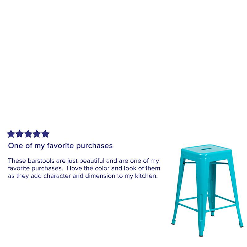 "Commercial Grade 24"" High Backless Crystal Teal-Blue Indoor-Outdoor Counter Height Stool [ET-BT3503-24-CB-GG]. Picture 6"
