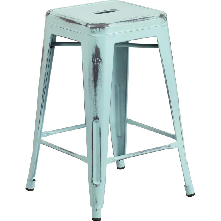 "Commercial Grade 24"" High Backless Distressed Green-Blue Metal Indoor-Outdoor Counter Height Stool. Picture 1"