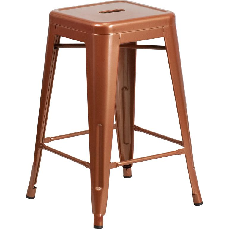 "Commercial Grade 24"" High Backless Copper Indoor-Outdoor Counter Height Stool [ET-BT3503-24-POC-GG]. Picture 1"