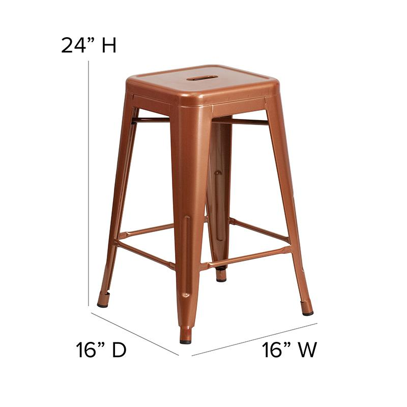 "Commercial Grade 24"" High Backless Copper Indoor-Outdoor Counter Height Stool [ET-BT3503-24-POC-GG]. Picture 2"