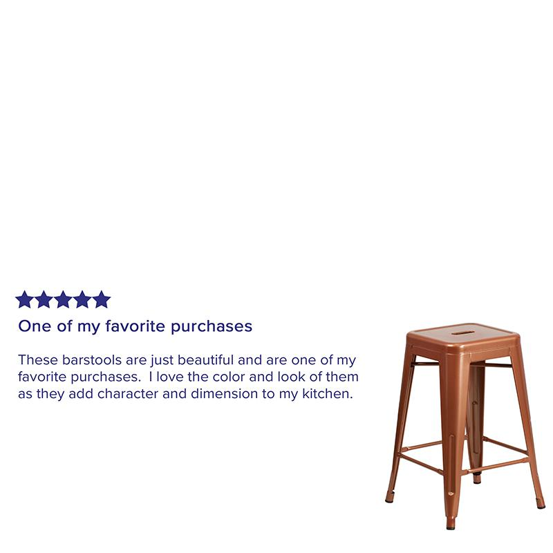 "Commercial Grade 24"" High Backless Copper Indoor-Outdoor Counter Height Stool [ET-BT3503-24-POC-GG]. Picture 3"