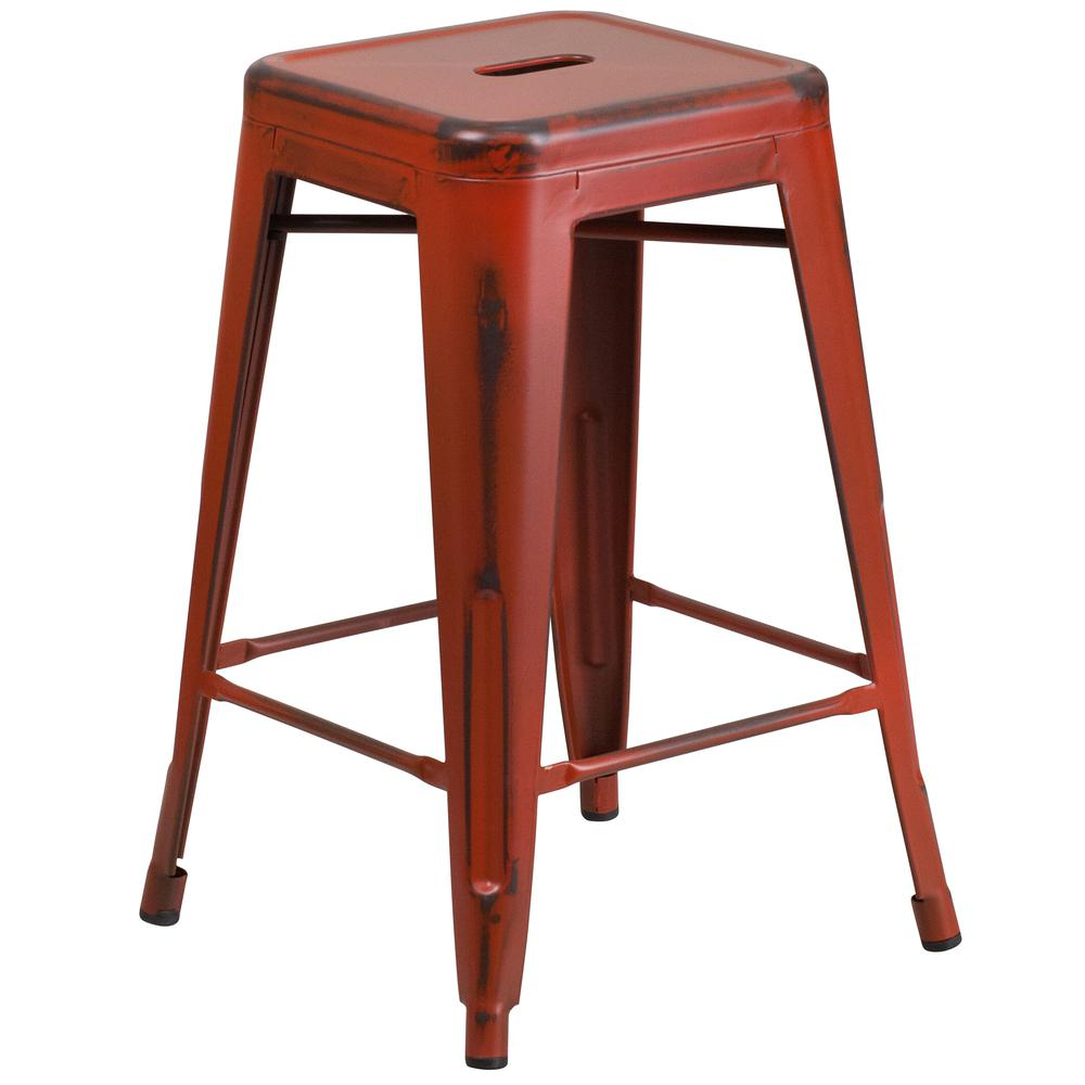 """Commercial Grade 24"""" High Backless Distressed Kelly Red Metal Indoor-Outdoor Counter Height Stool [ET-BT3503-24-RD-GG]. Picture 1"""