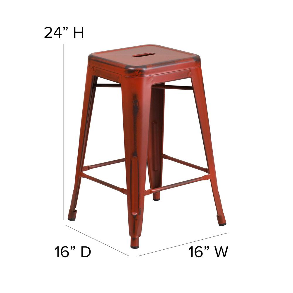 """Commercial Grade 24"""" High Backless Distressed Kelly Red Metal Indoor-Outdoor Counter Height Stool [ET-BT3503-24-RD-GG]. Picture 2"""