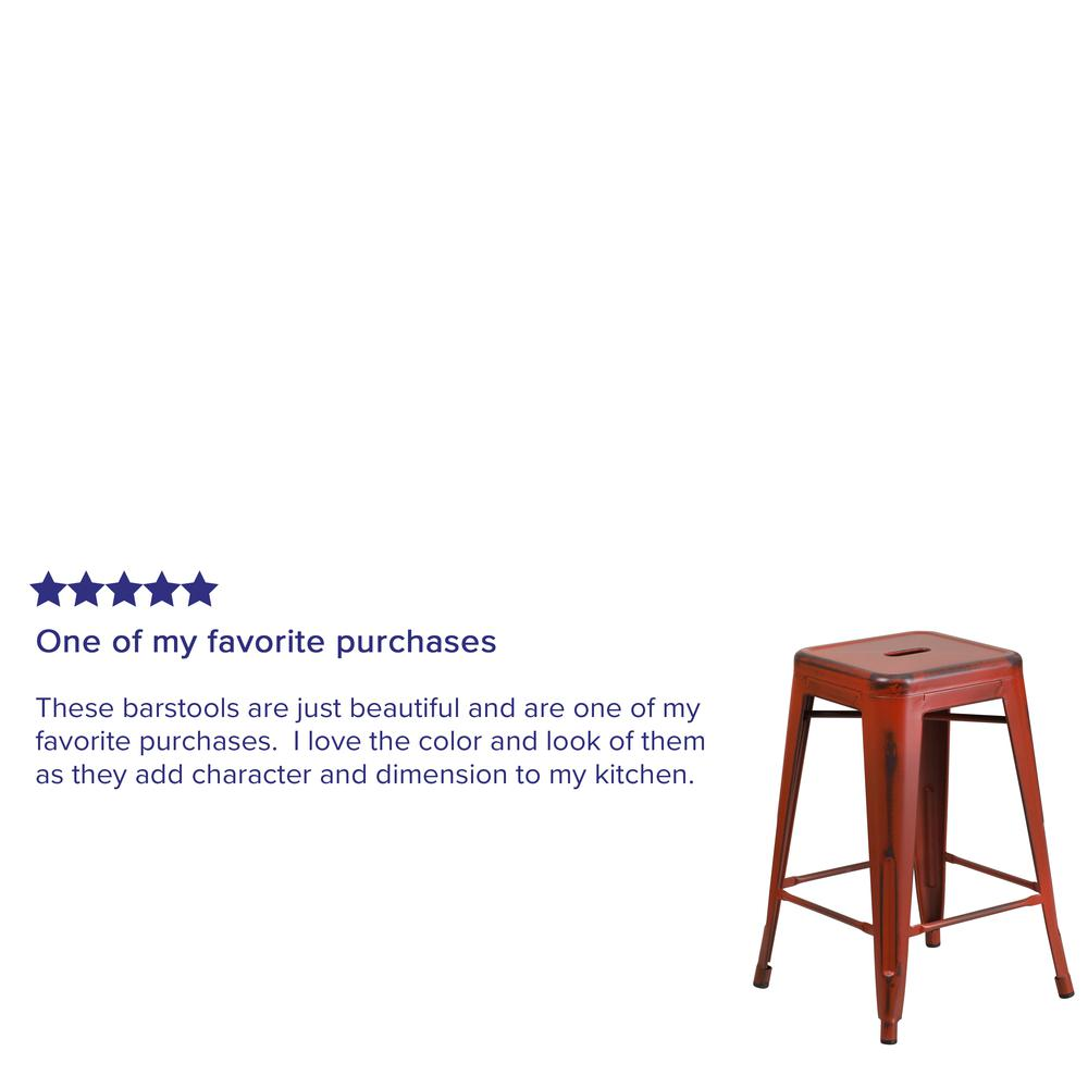 """Commercial Grade 24"""" High Backless Distressed Kelly Red Metal Indoor-Outdoor Counter Height Stool [ET-BT3503-24-RD-GG]. Picture 3"""