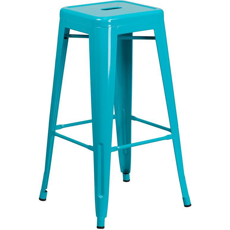 30 High Backless Crystal Teal Blue Indoor Outdoor Barstool