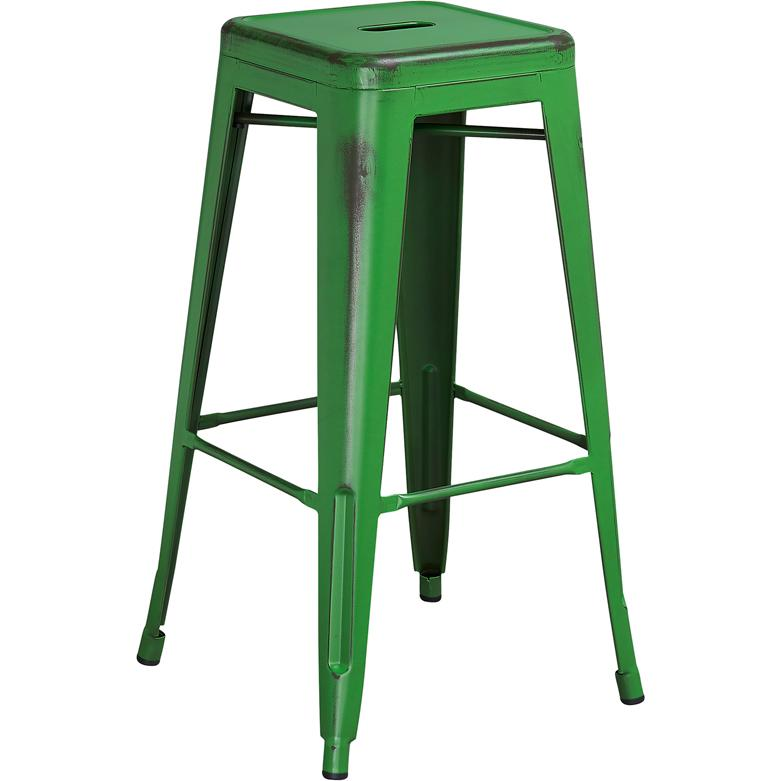 30 High Backless Distressed Green Metal Indoor Outdoor