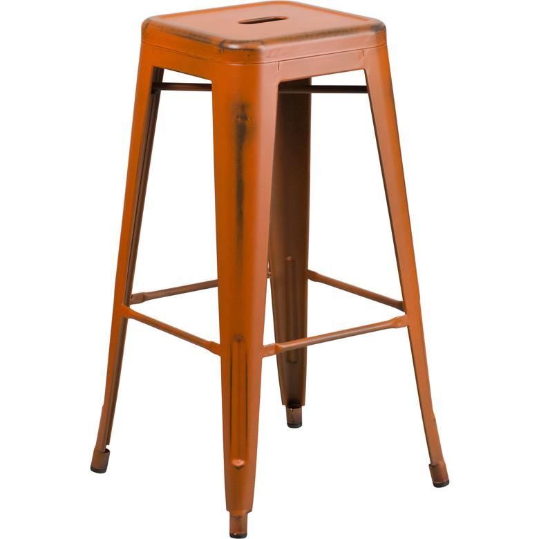 "Commercial Grade 30"" High Backless Distressed Orange Metal Indoor-Outdoor Barstool [ET-BT3503-30-OR-GG]. Picture 1"