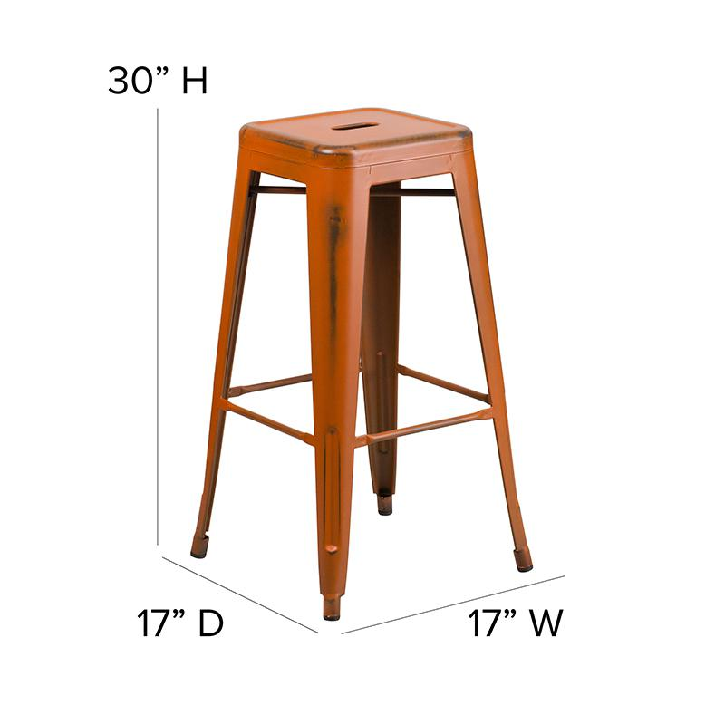 "Commercial Grade 30"" High Backless Distressed Orange Metal Indoor-Outdoor Barstool [ET-BT3503-30-OR-GG]. Picture 2"