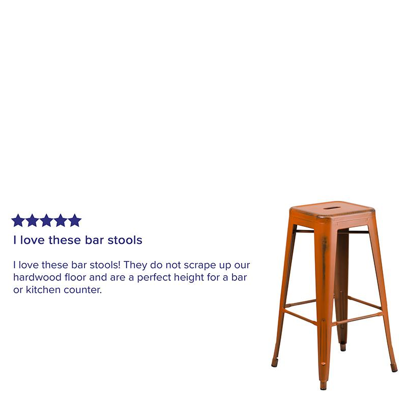 "Commercial Grade 30"" High Backless Distressed Orange Metal Indoor-Outdoor Barstool [ET-BT3503-30-OR-GG]. Picture 3"