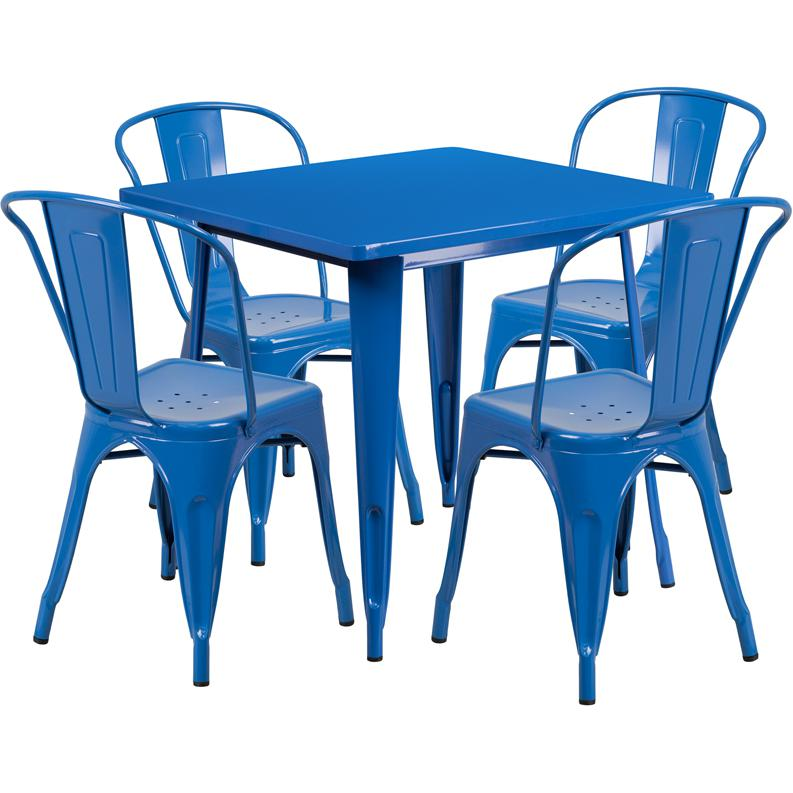 """Commercial Grade 31.5"""" Square Blue Metal Indoor-Outdoor Table Set with 4 Stack Chairs [ET-CT002-4-30-BL-GG]. Picture 1"""