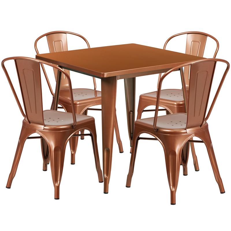 """Commercial Grade 31.5"""" Square Copper Metal Indoor-Outdoor Table Set with 4 Stack Chairs [ET-CT002-4-30-POC-GG]. Picture 1"""