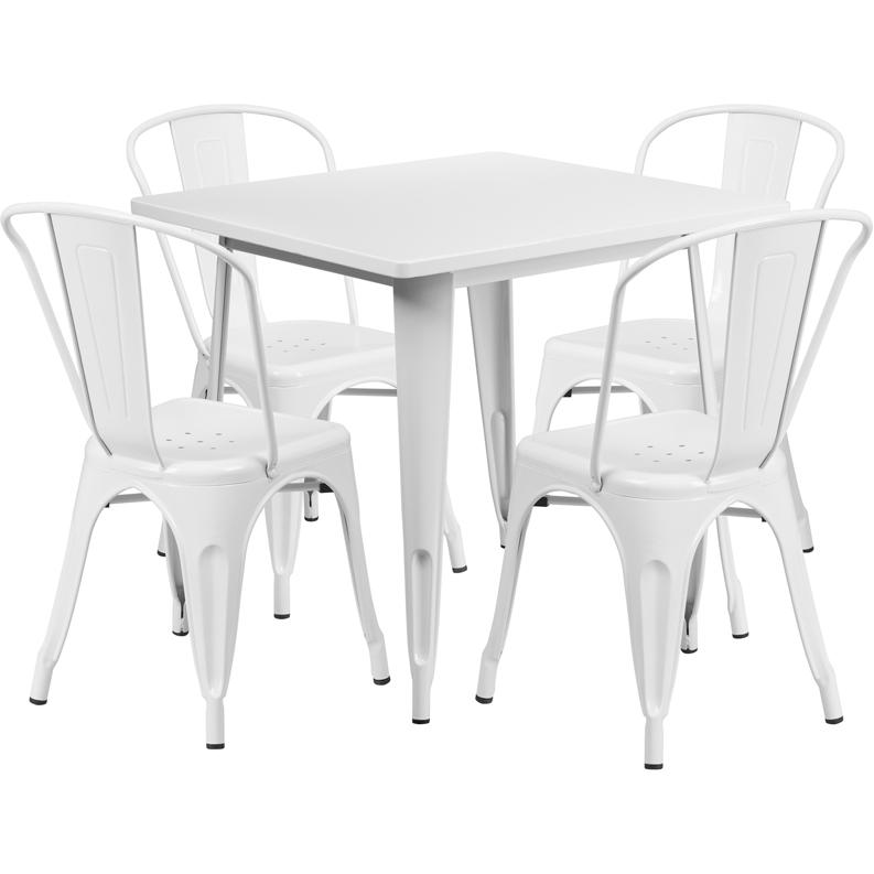 "Commercial Grade 31.5"" Square White Metal Indoor-Outdoor Table Set with 4 Stack Chairs [ET-CT002-4-30-WH-GG]. Picture 1"