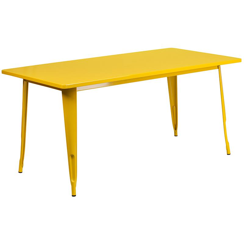 "Commercial Grade 31.5"" x 63"" Rectangular Yellow Metal Indoor-Outdoor Table Set with 6 Stack Chairs [ET-CT005-6-30-YL-GG]. Picture 2"
