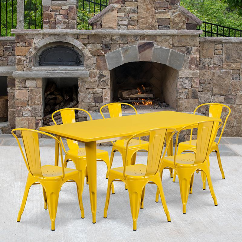 "Commercial Grade 31.5"" x 63"" Rectangular Yellow Metal Indoor-Outdoor Table Set with 6 Stack Chairs [ET-CT005-6-30-YL-GG]. Picture 4"
