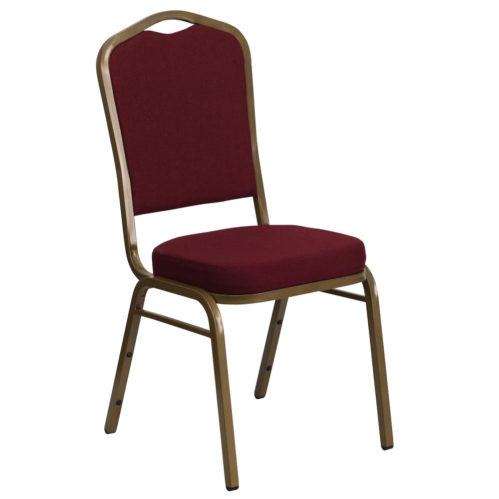 Crown Back Stacking Banquet Chair in Burgundy Fabric - Gold Frame. Picture 1