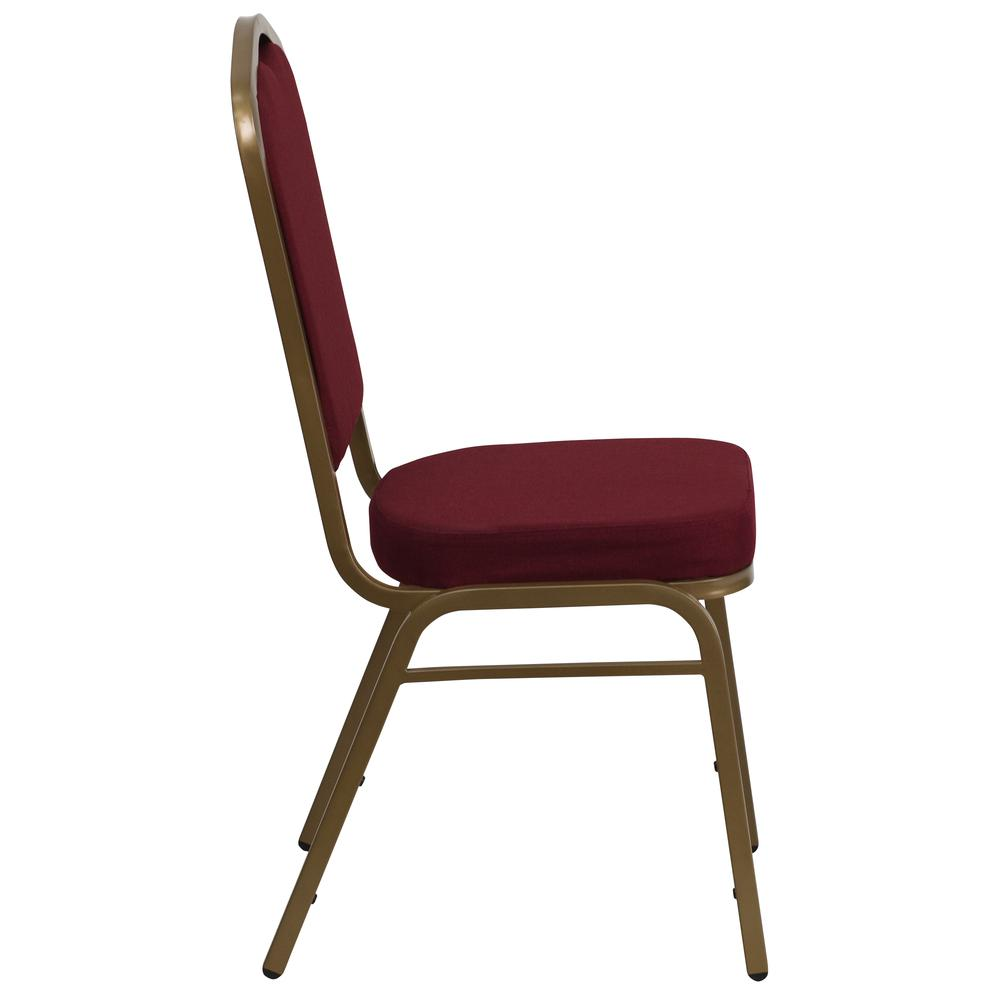 Crown Back Stacking Banquet Chair in Burgundy Fabric - Gold Frame. Picture 2
