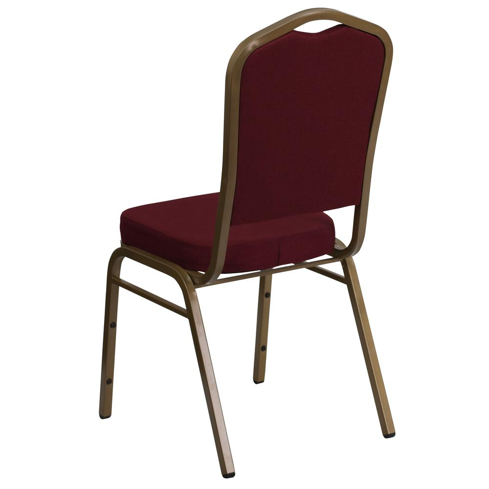 Crown Back Stacking Banquet Chair in Burgundy Fabric - Gold Frame. Picture 3