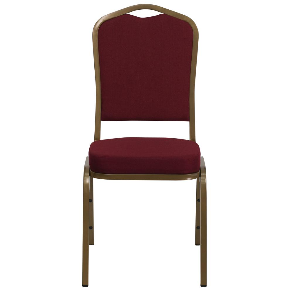 Crown Back Stacking Banquet Chair in Burgundy Fabric - Gold Frame. Picture 4