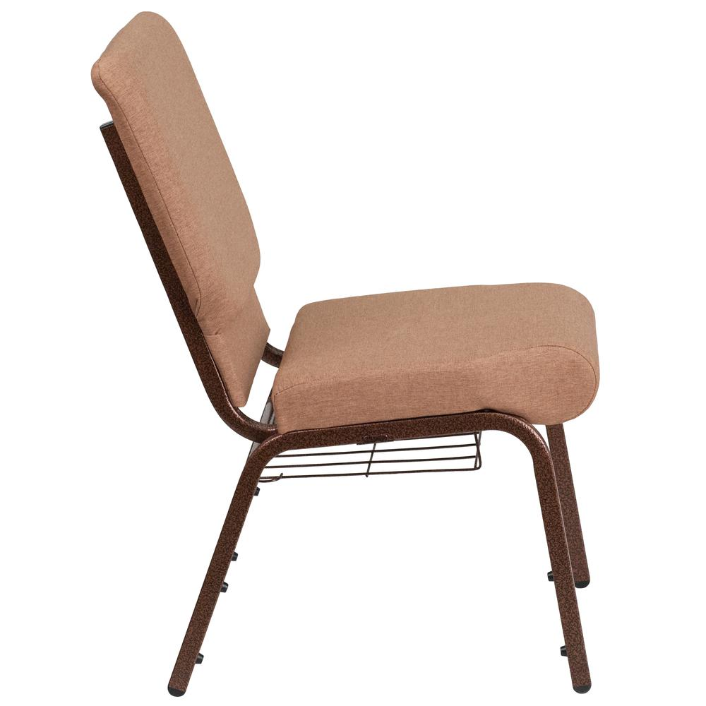 18.5''W Church Chair in Caramel Fabric with Cup Book Rack - Copper Vein Frame