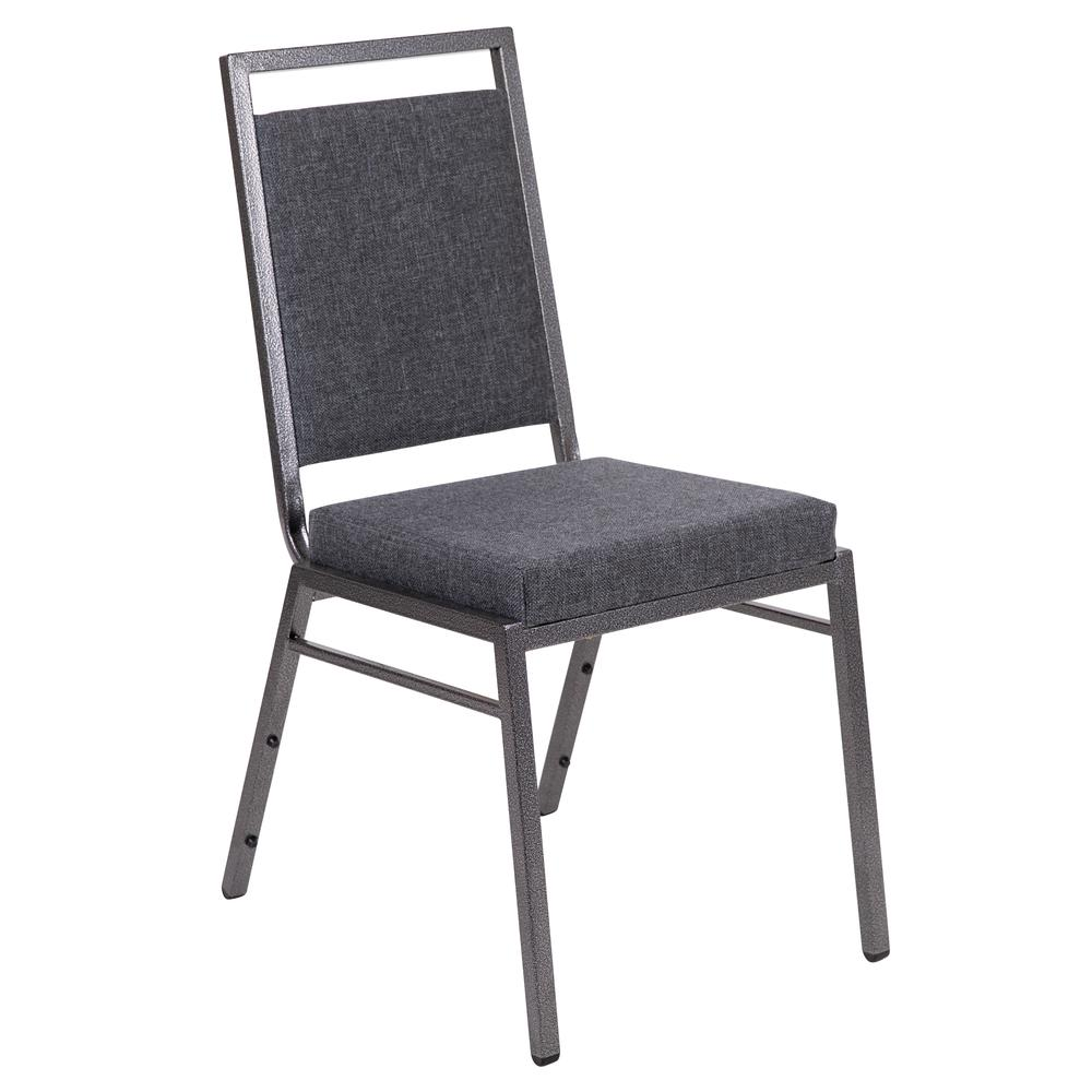 HERCULES Series Square Back Stacking Banquet Chair in Dark Gray Fabric with Silvervein Frame. Picture 1