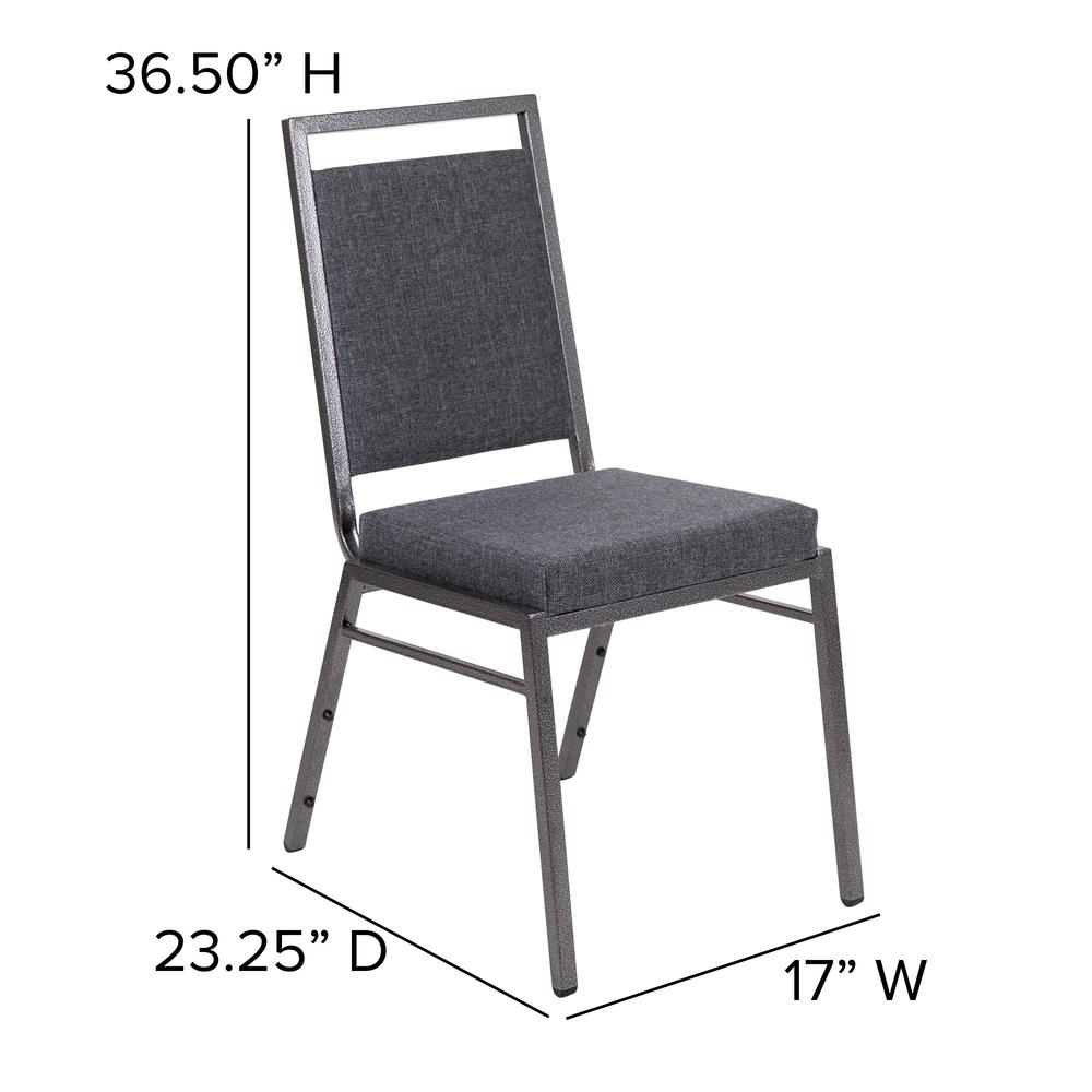 HERCULES Series Square Back Stacking Banquet Chair in Dark Gray Fabric with Silvervein Frame. Picture 2