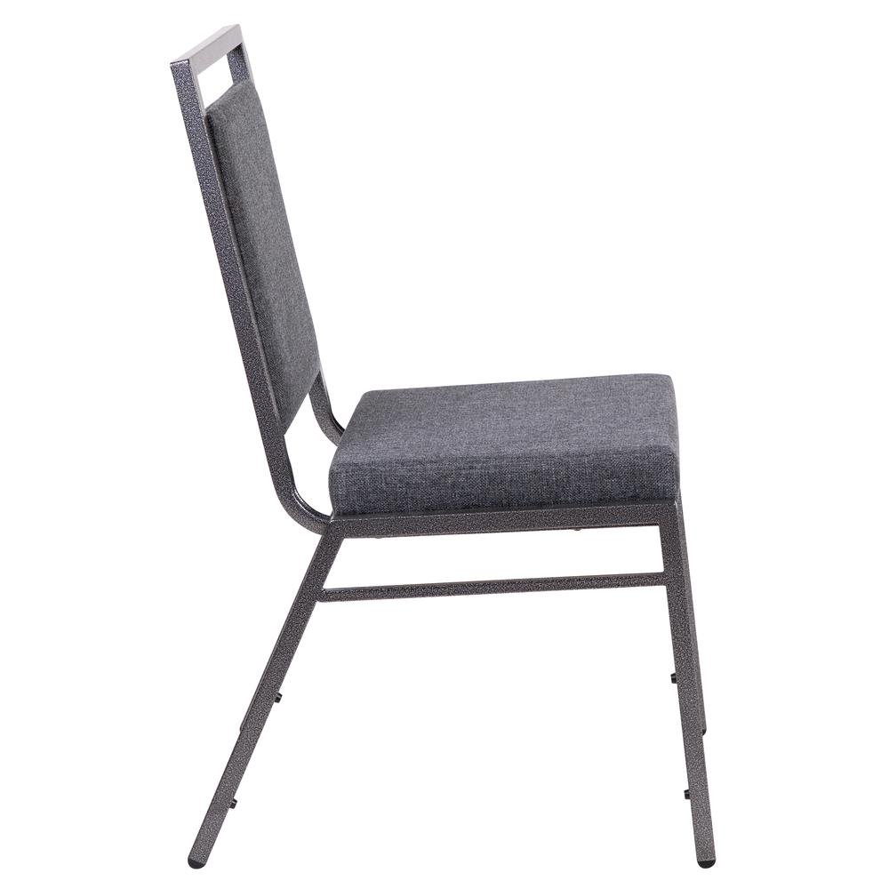 HERCULES Series Square Back Stacking Banquet Chair in Dark Gray Fabric with Silvervein Frame. Picture 3