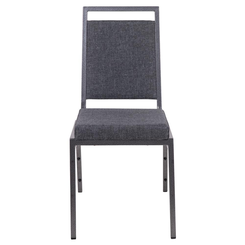 HERCULES Series Square Back Stacking Banquet Chair in Dark Gray Fabric with Silvervein Frame. Picture 5