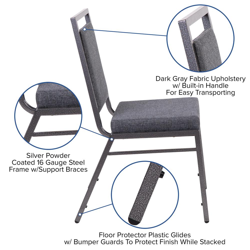 HERCULES Series Square Back Stacking Banquet Chair in Dark Gray Fabric with Silvervein Frame. Picture 6