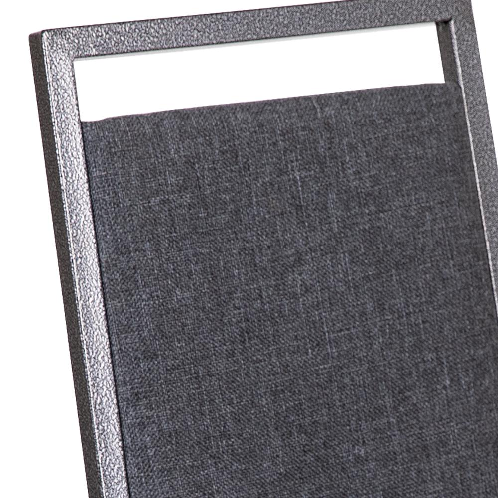 HERCULES Series Square Back Stacking Banquet Chair in Dark Gray Fabric with Silvervein Frame. Picture 7