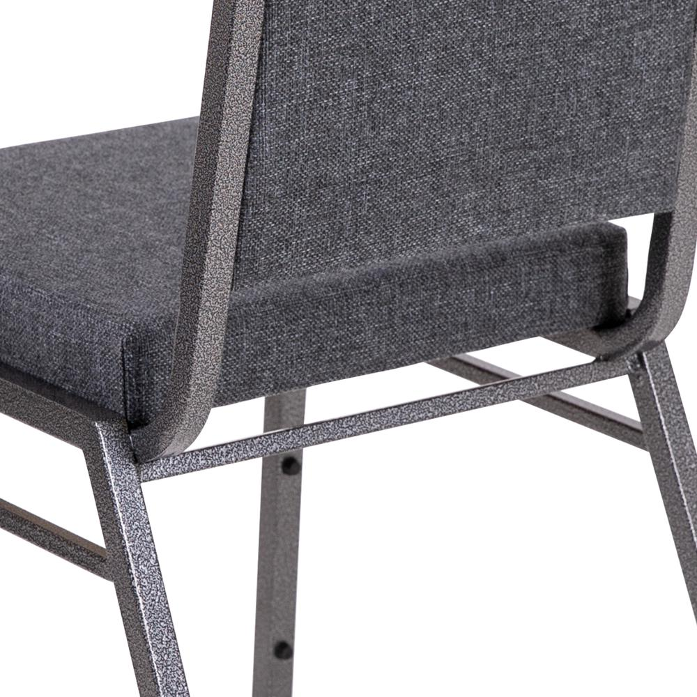 HERCULES Series Square Back Stacking Banquet Chair in Dark Gray Fabric with Silvervein Frame. Picture 8