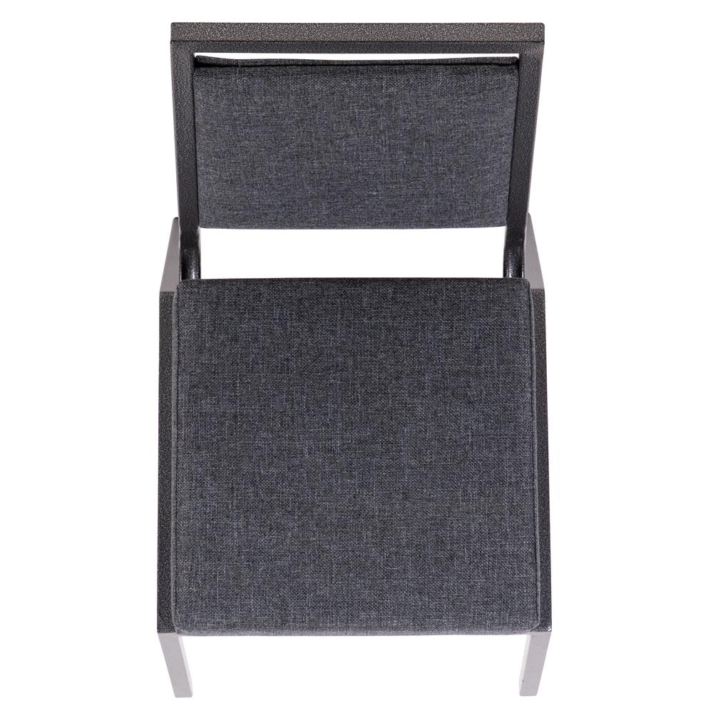 HERCULES Series Square Back Stacking Banquet Chair in Dark Gray Fabric with Silvervein Frame. Picture 9