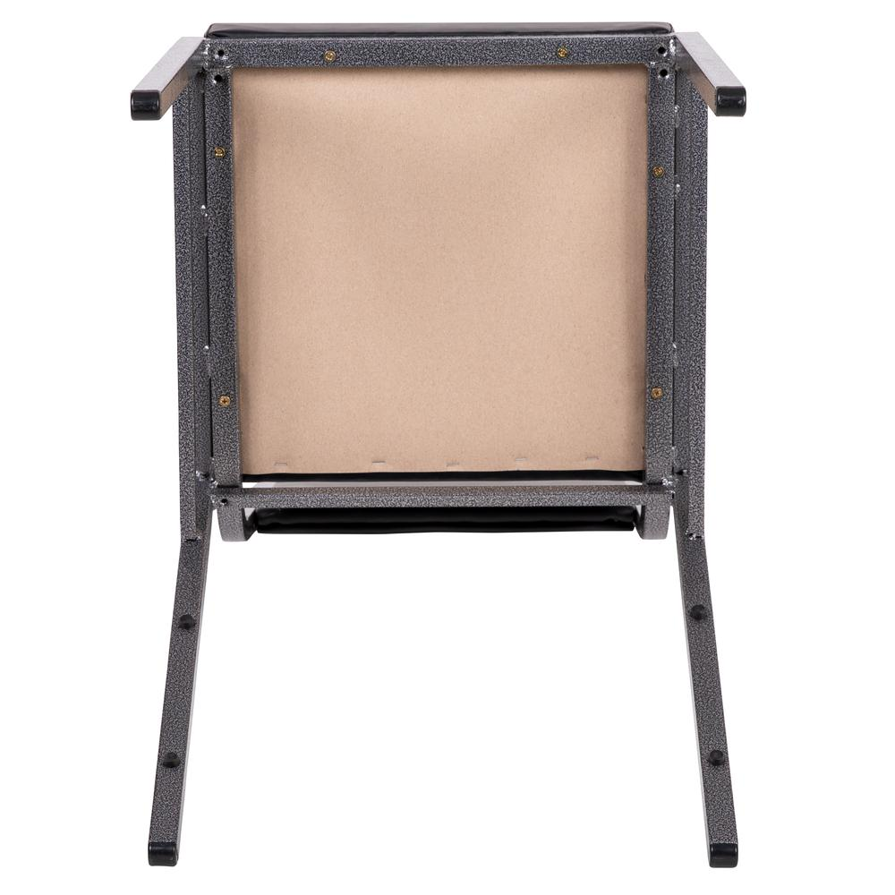 HERCULES Series Square Back Stacking Banquet Chair in Dark Gray Fabric with Silvervein Frame. Picture 10