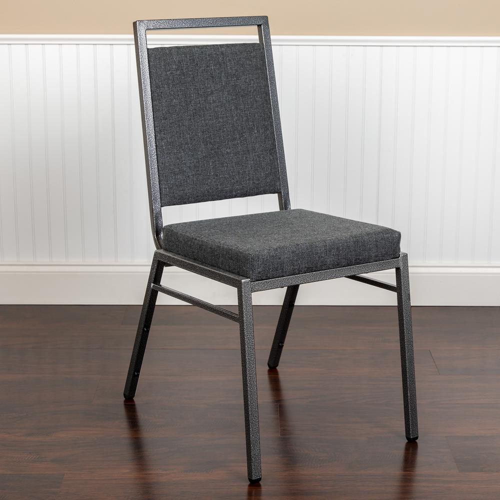 HERCULES Series Square Back Stacking Banquet Chair in Dark Gray Fabric with Silvervein Frame. Picture 11