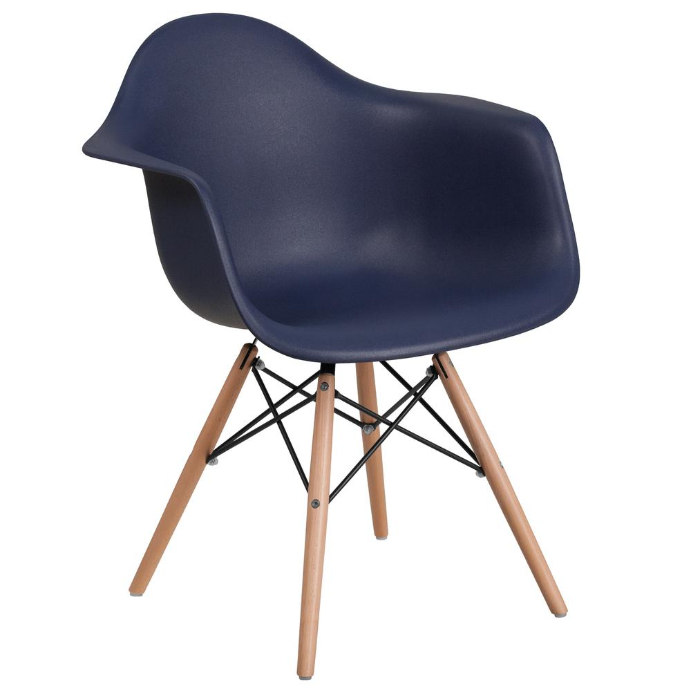 Navy Plastic Chair with Arms and Wooden Legs. Picture 1