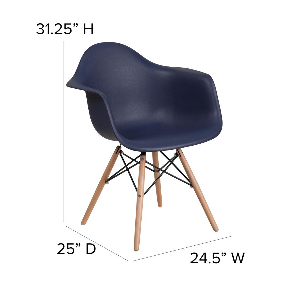 Navy Plastic Chair with Arms and Wooden Legs. Picture 2