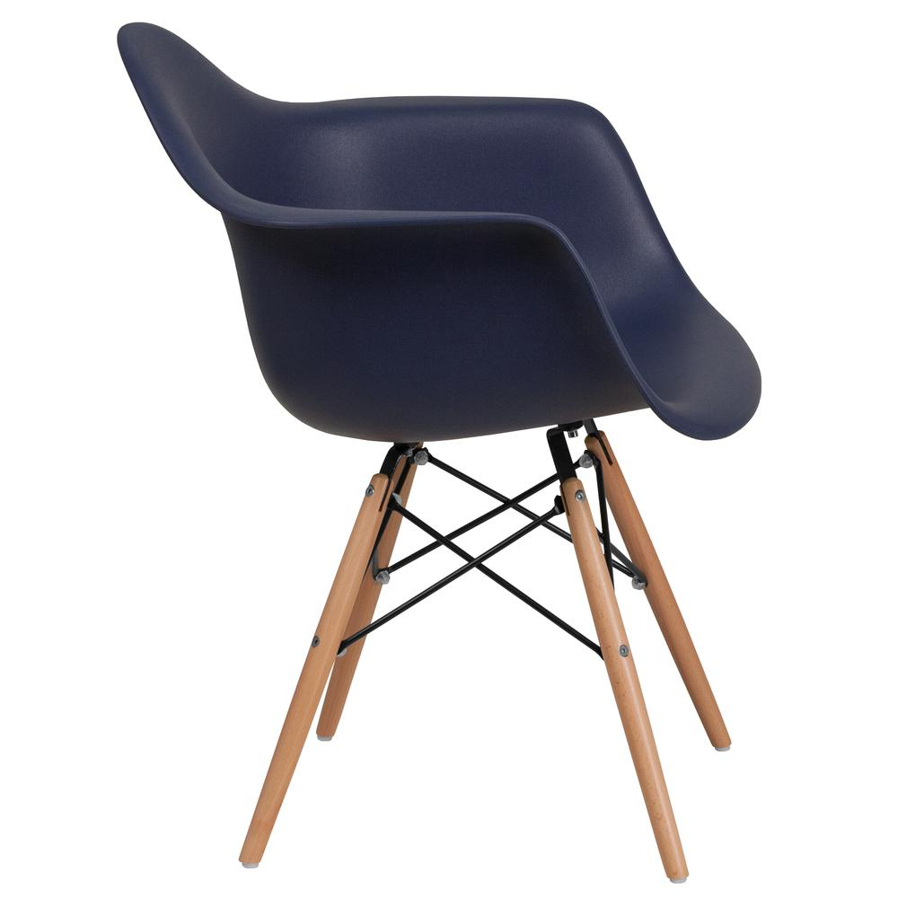 Navy Plastic Chair with Arms and Wooden Legs. Picture 3