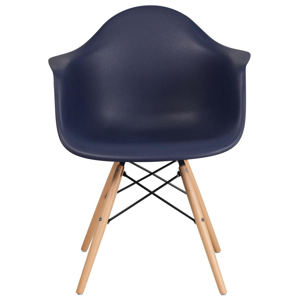 Navy Plastic Chair with Arms and Wooden Legs. Picture 5
