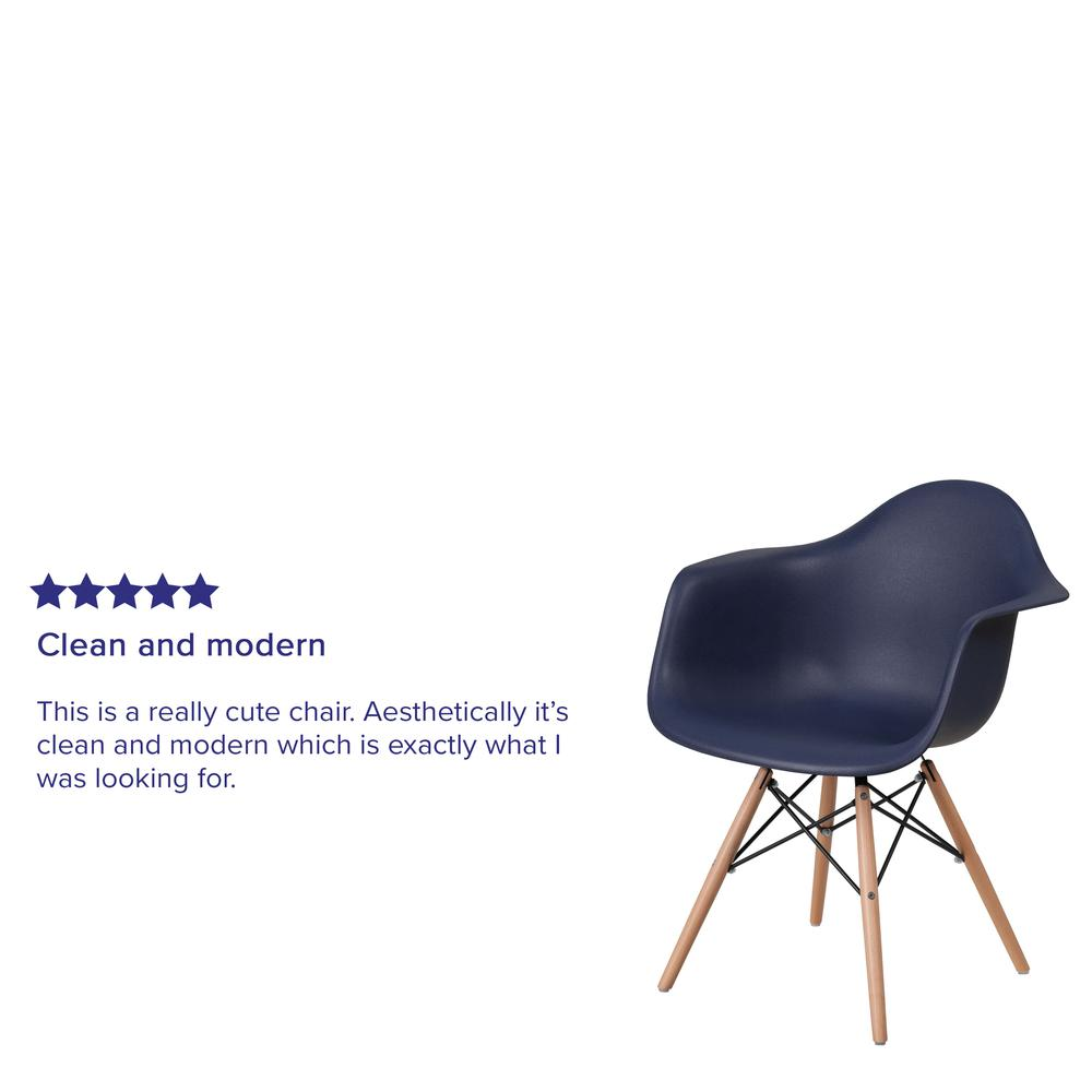 Navy Plastic Chair with Arms and Wooden Legs. Picture 6