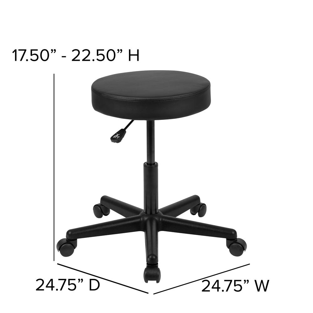 HERCULES Series Black Backless Medical Doctor Stool with Antimicrobial / Antibacterial Vinyl, Molded Foam Seat and Nylon Base. Picture 4