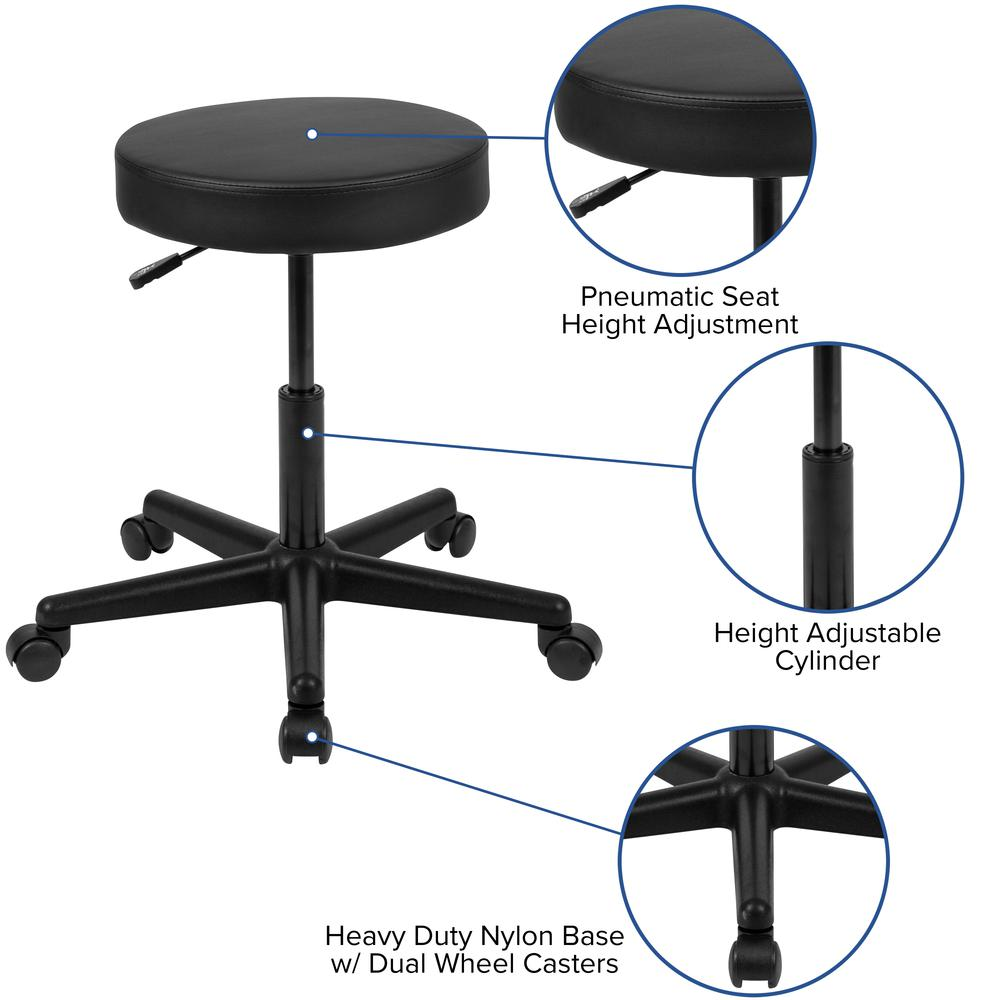 HERCULES Series Black Backless Medical Doctor Stool with Antimicrobial / Antibacterial Vinyl, Molded Foam Seat and Nylon Base. Picture 3