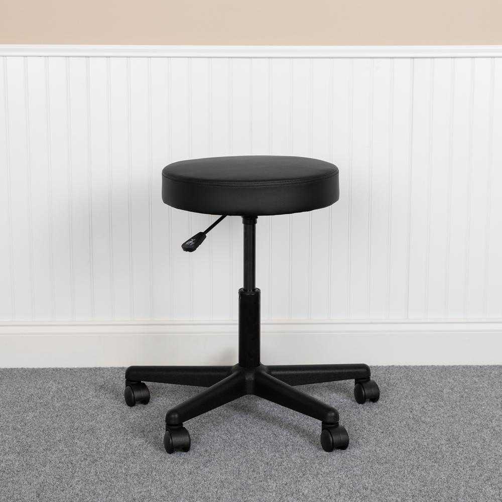 HERCULES Series Black Backless Medical Doctor Stool with Antimicrobial / Antibacterial Vinyl, Molded Foam Seat and Nylon Base. Picture 1