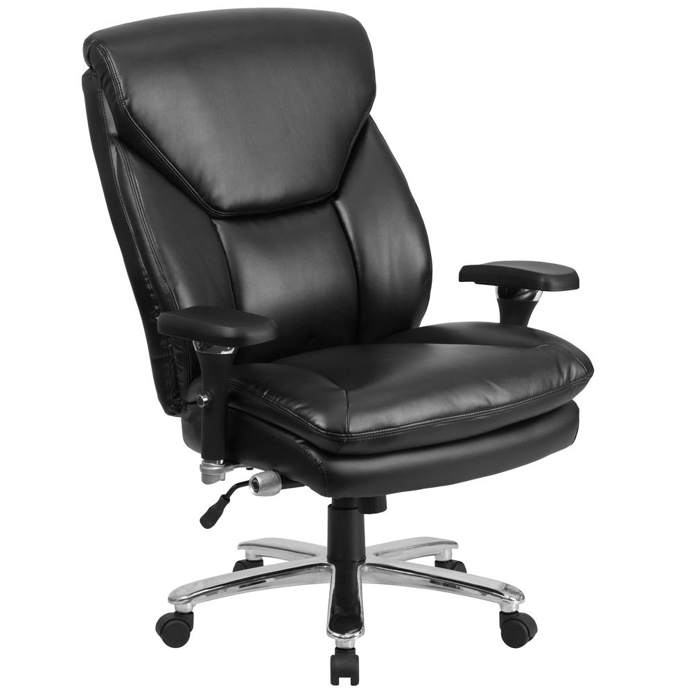 24/7 Intensive Use Big & Tall 400 lb. Rated High Back Black LeatherSoft Ergonomic Office Chair with Lumbar Knob and Triangular Headrest. Picture 1