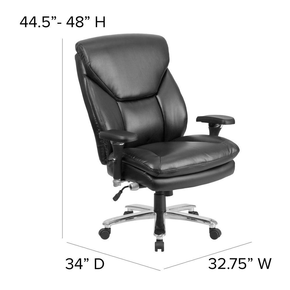 24/7 Intensive Use Big & Tall 400 lb. Rated High Back Black LeatherSoft Ergonomic Office Chair with Lumbar Knob and Triangular Headrest. Picture 2