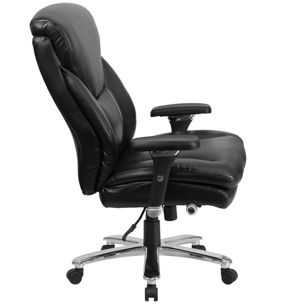 24/7 Intensive Use Big & Tall 400 lb. Rated High Back Black LeatherSoft Ergonomic Office Chair with Lumbar Knob and Triangular Headrest. Picture 3