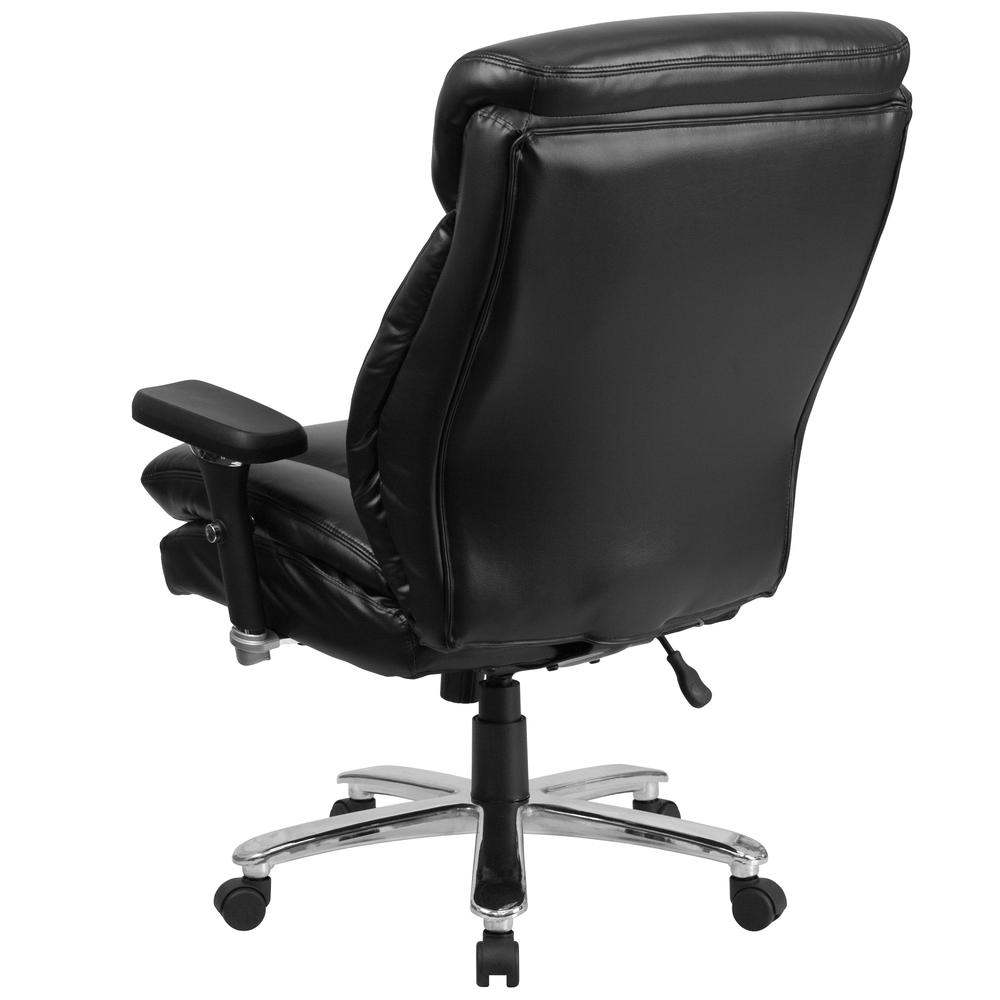 24/7 Intensive Use Big & Tall 400 lb. Rated High Back Black LeatherSoft Ergonomic Office Chair with Lumbar Knob and Triangular Headrest. Picture 4