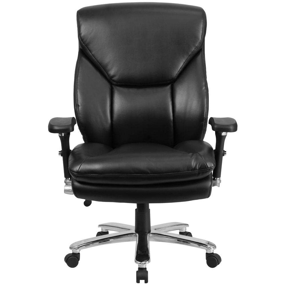 24/7 Intensive Use Big & Tall 400 lb. Rated High Back Black LeatherSoft Ergonomic Office Chair with Lumbar Knob and Triangular Headrest. Picture 5