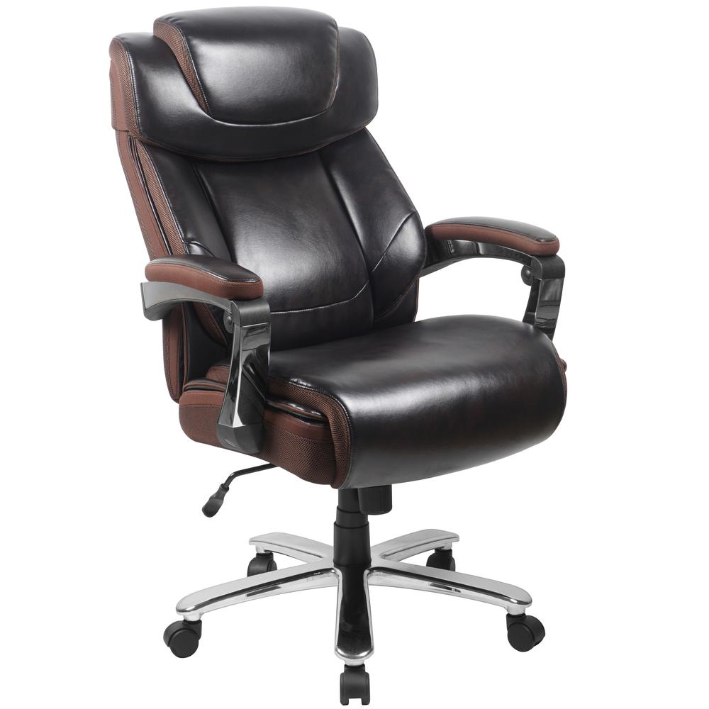 Big & Tall 500 lb. Rated Brown LeatherSoft Executive Swivel Ergonomic Office Chair with Adjustable Headrest. Picture 1